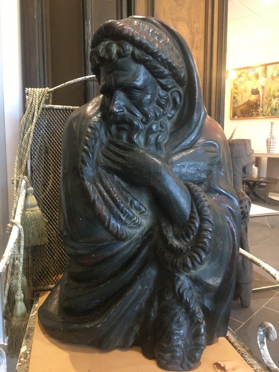Sculpture En Fonte XIX ème Century Personnage Masculin