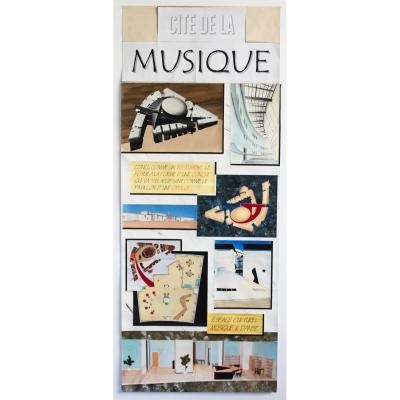 """Planche De Dessin De l'Architecte """"portzamparc"""" Pour La Cité De La Musique De Paris"""