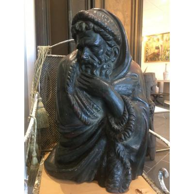 Cast Iron Sculpture XIX Th Century Male Character