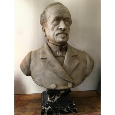 Buste En Marbre  Moncel Sculpteur Sculpture Personnage Masculin