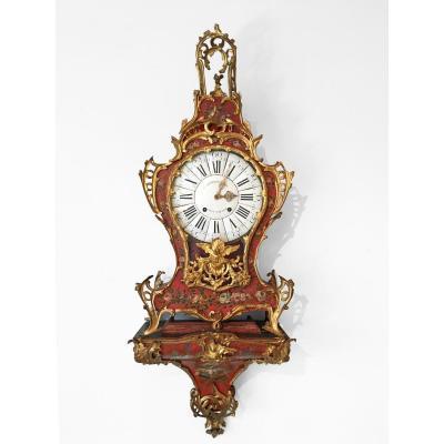 Grand Cartel d'Applique d'époque Louis XV En Vernis Martin à Fond Rouge Et Bronze Doré