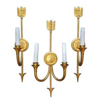 Suite De Trois Appliques En Bronze Doré Au Cor De Chasse
