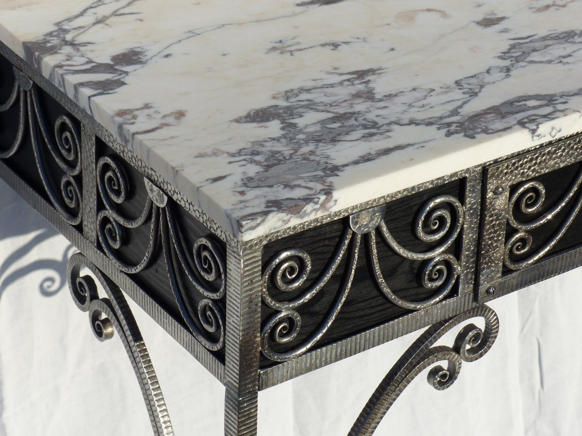 Art Deco Console With A Drawer Wrought Iron And Marble