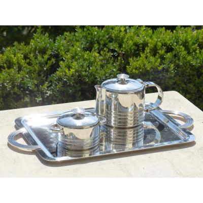 Christofle Ondulation Art Deco Tea Service 1935 Luc Lanel
