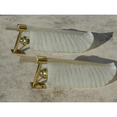 Pair Of Italian Feather Sconces 1960 Murano Venini
