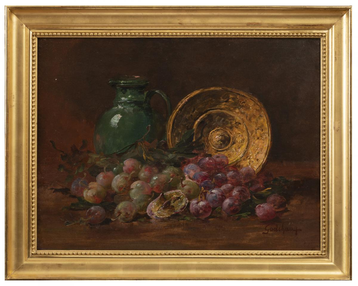 Godchaux Roger, Still Life With Plums, Oil On Canvas