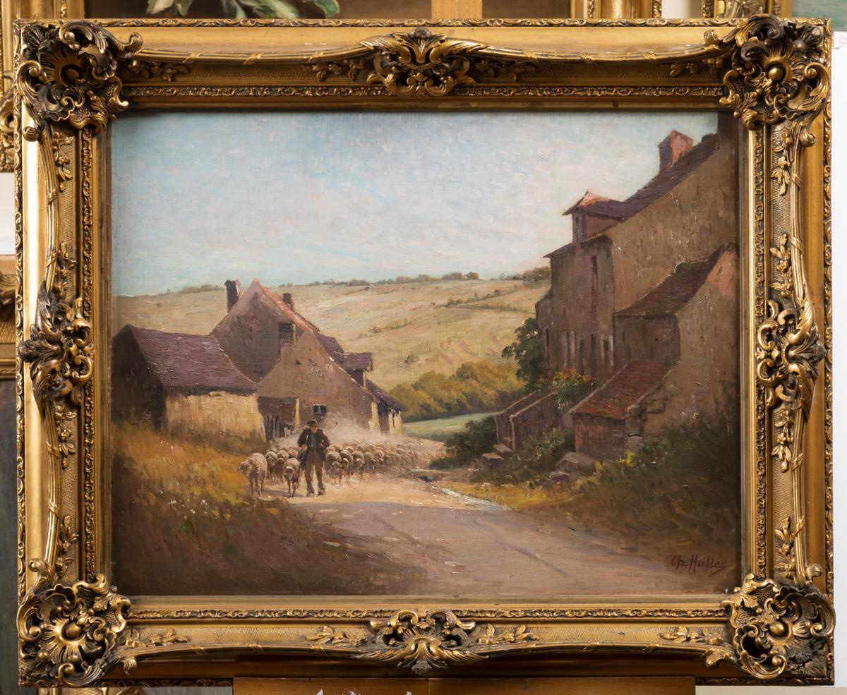 Charles A. Halle, Le Retour Du Troupeau, Huile Sur Toile