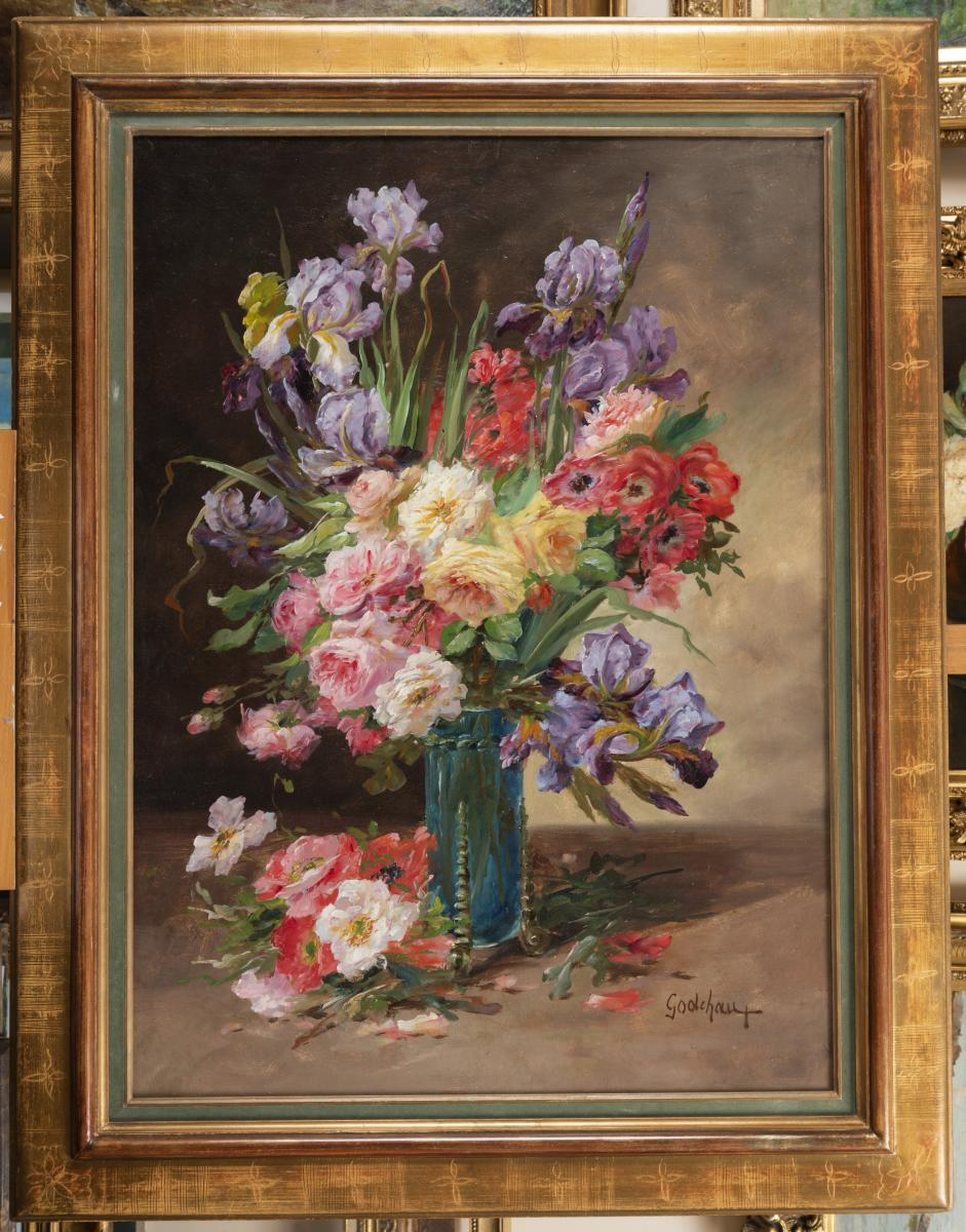 Roger Godchaux, Bouquet With Roses, And Iris, Oil On Canvas