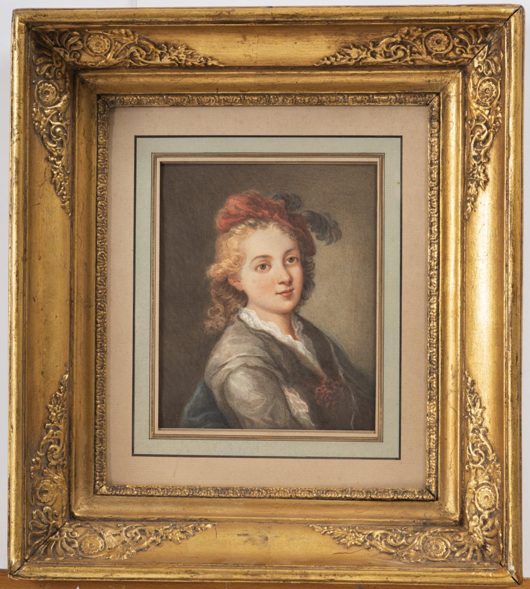 Portrait Signé Hebert Vers 1860 Aquarelle Gouachée Sur Papier