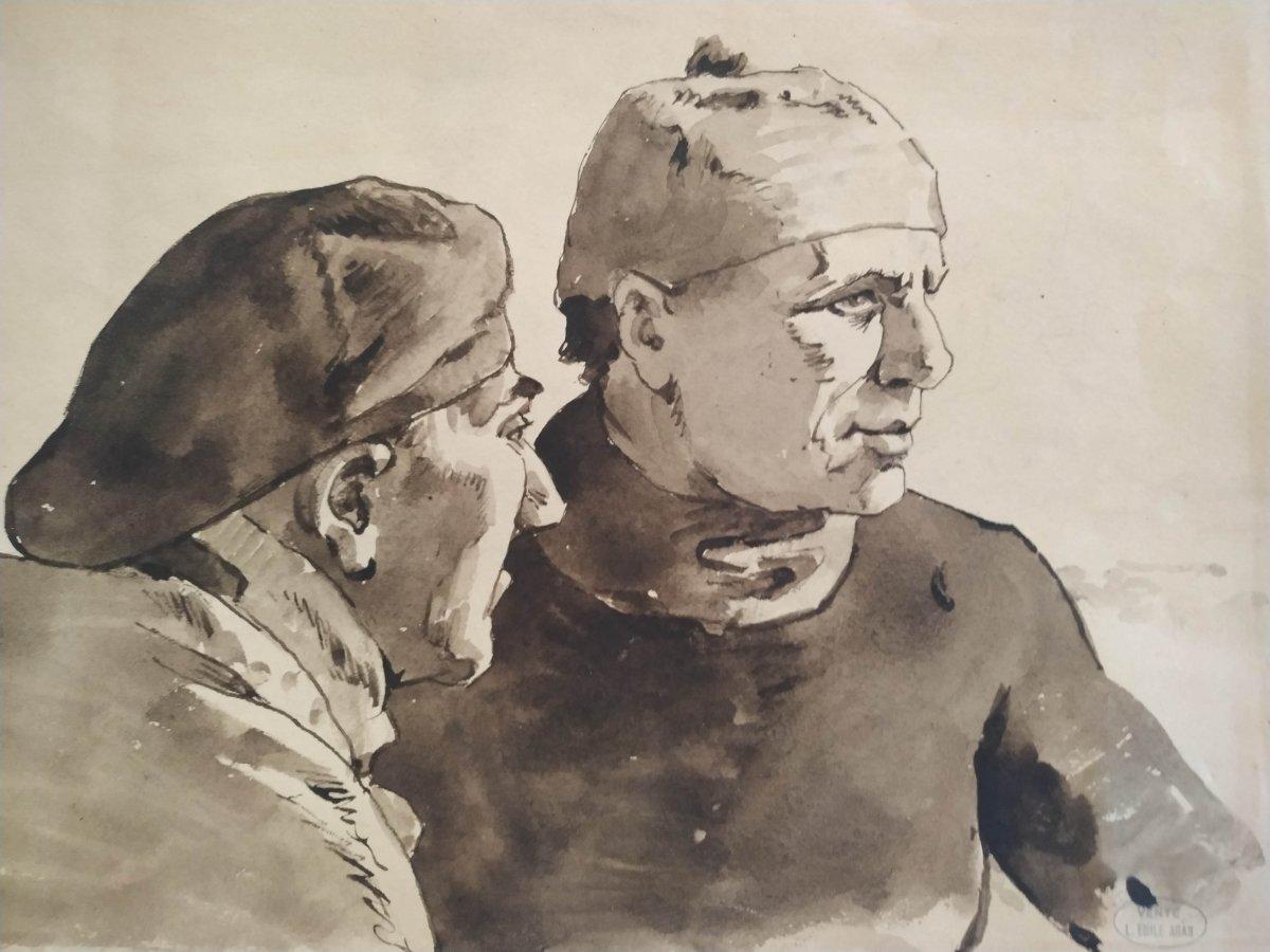 2 Fishermen  By Louis Emile Adan