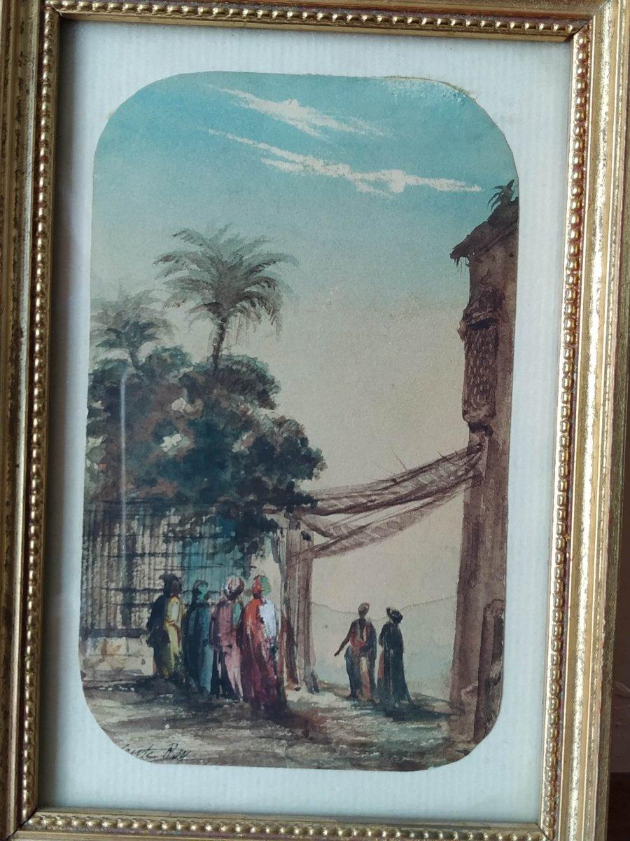 Rey Alphonse  1865 - 1938 : aquarelle. rue d'Alger au palmier