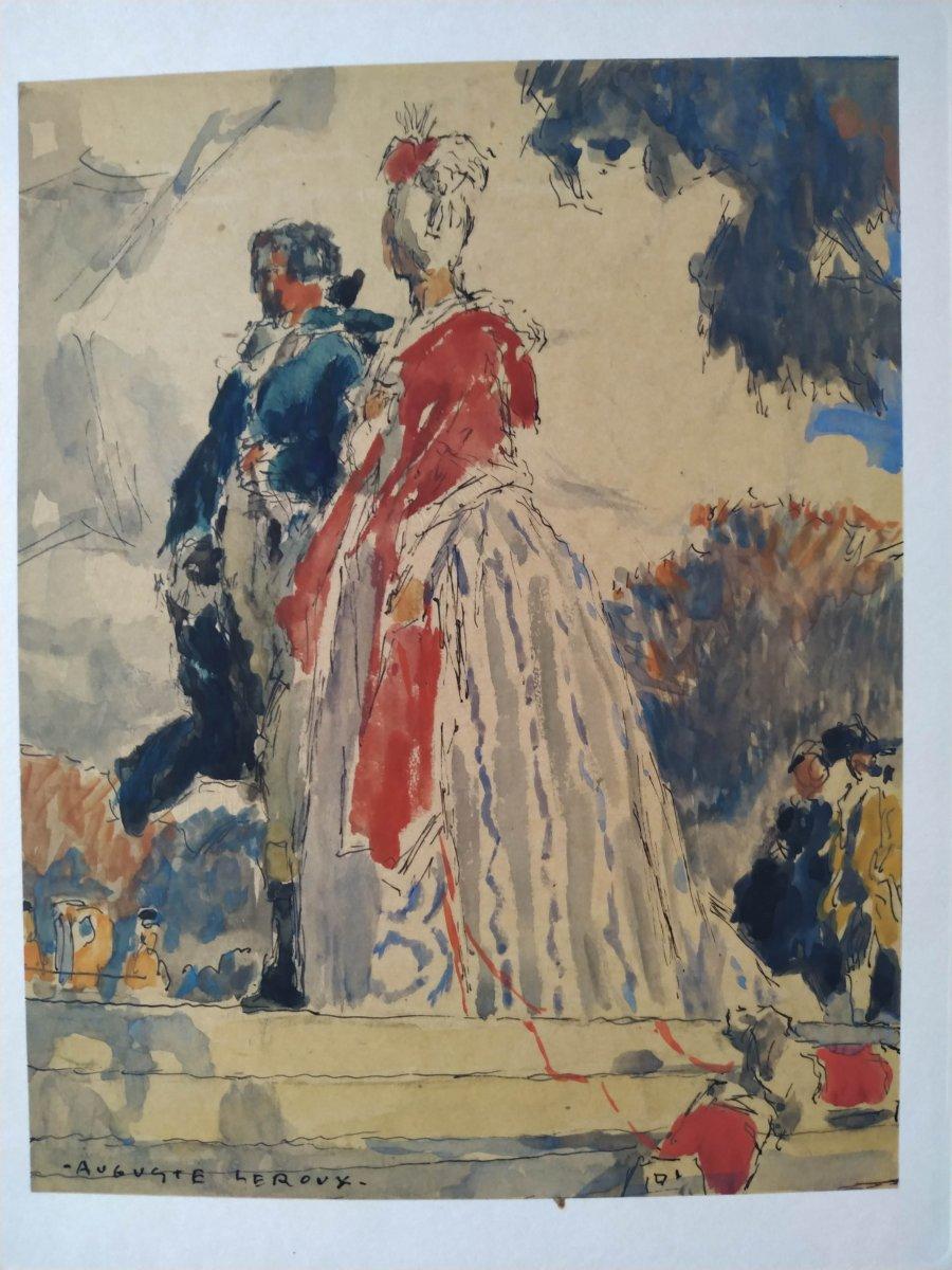 """promenade dans un parc"""" gouache par Auguste Leroux"""