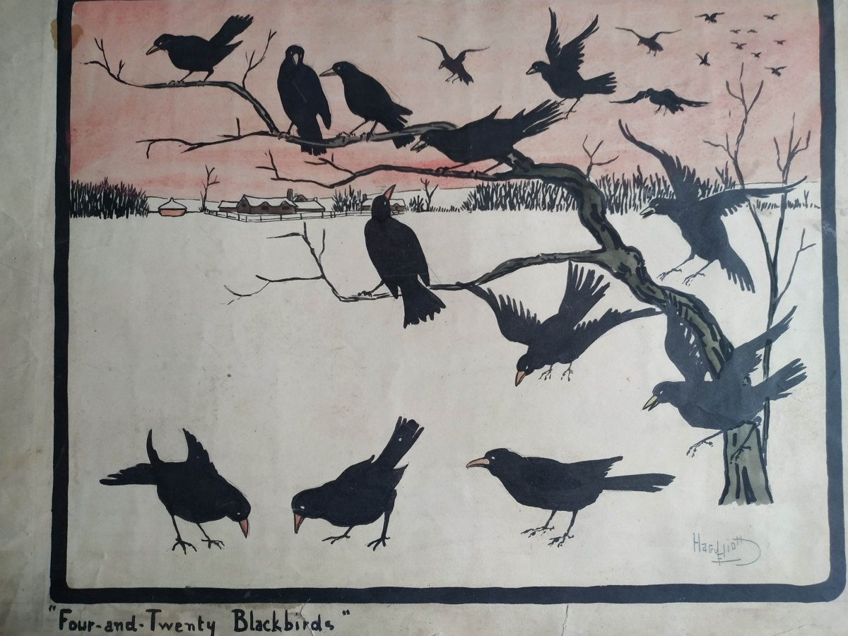 """""""Four and twenty blackbirds"""" Indian ink and watercolor by harry Eliott 1882-1959 fr. Probably an evocation of the war with the symbol of the crows and the red sky"""