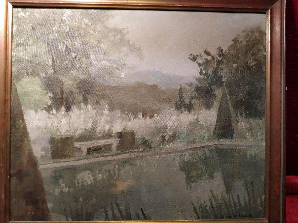 Landscape Oil On Canvas By Marie Louguinine Volkonski