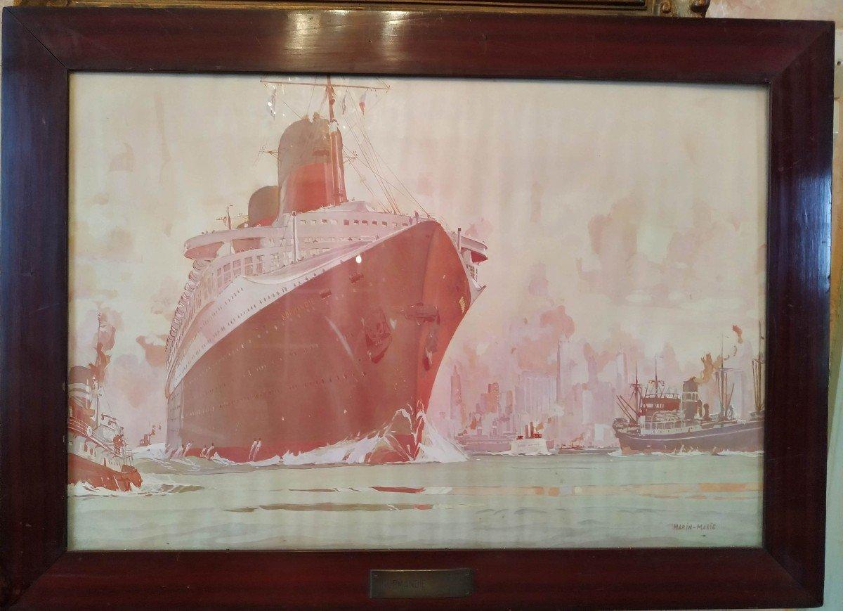 Entrée du paquebot Normandie dans le port de New York d'après Marin Marie