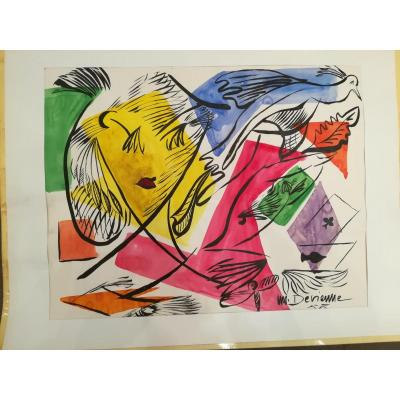 "Max Devienne ""watercolors"" Comes From The Exhibition At The Galerie De France In 1955."