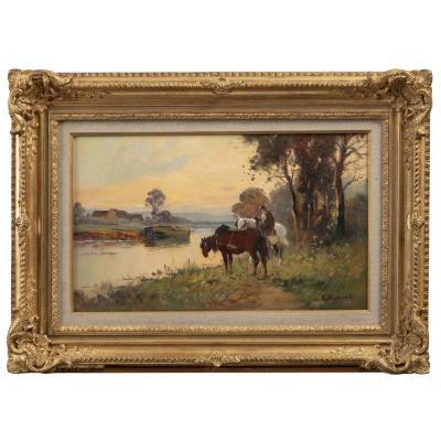 Villemont, cheval de hallage, huile sur toile