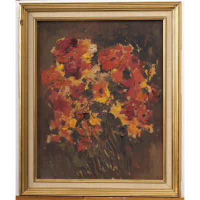 José Cruz Herrera, Huile Sur Toile, Fleurs Dans Un Vase, Nature Morte