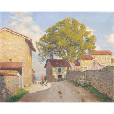 Marius Bouvet, Provence, Village animé, huile