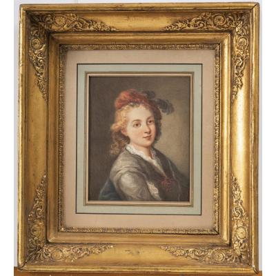 Portrait Signed Hebert Around 1860 Watercolor Gouache On Paper