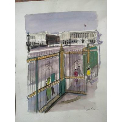 Paris Gouache On Paper By Milivoy Uzelac