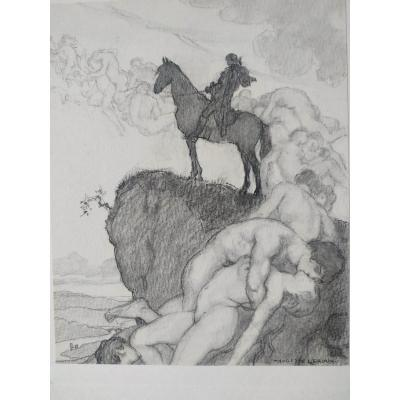 """Cavalier"" by Auguste Leroux around 1925. Drawing in lead, charcoal and feather. Pupil of Bonnat, he obtained the Grand Prix de Rome in 1894. Original illustration by Werther."