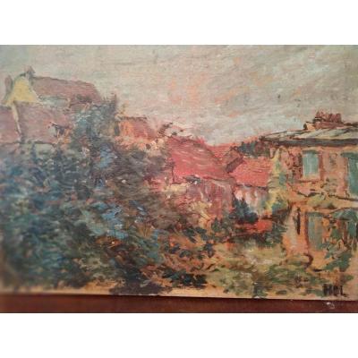 """Village view"" Oil on pannel by Henry Dreyfus Lemaitre"