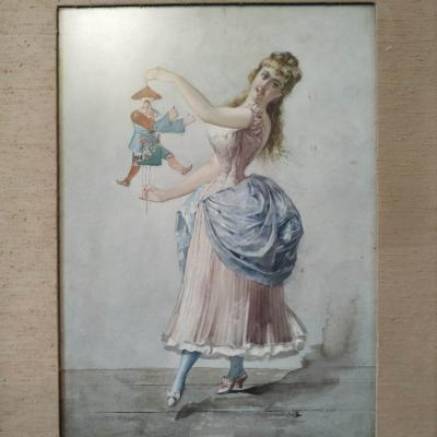 """""""the beautiful elegant and the Chinese puppet"""" watercolor dated 1886 by A. Riccardi Italian artist of the XIXth century"""