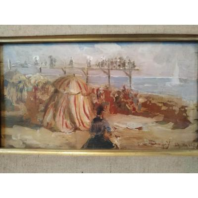 """""""Berth on the beach of Le Havre"""" oil on mahogany around 1900"""
