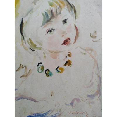 Portrait d'enfant pa k. Librowicz. École  pol.