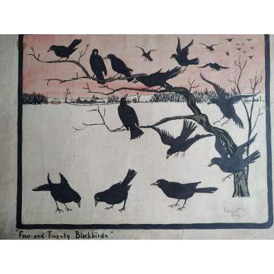"""""""24 corbeaux"""" encre de chine par Harry Eliott"""