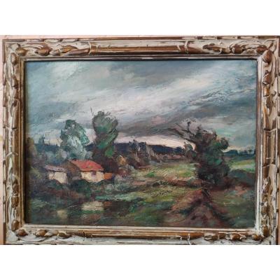 """""""Paysage Haut Normand"""" Huile par Georges Gonthier -"""