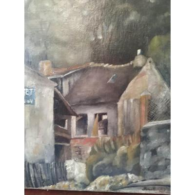 """""""Old house in the Parisian suburbs"""" oil on canvas dated 1924 dimensions 46 x 38cm by Pierre Lardin decorator and designer of Art Deco furniture."""
