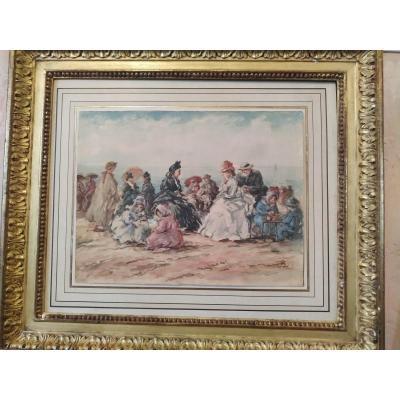 """animated Beach Scene Around 1900"" Watercolor On Paper"