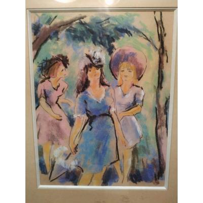 """3 young women """"Pastel on anonymous but quality"""
