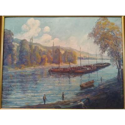 """""""La Seine à Amfreville"""" Huile sur panneau vers 1925 -"""