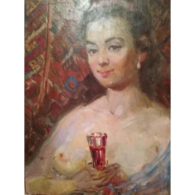 """Buste de femme nue au verre"""" Ec. Russe par Piotr Alberti"""