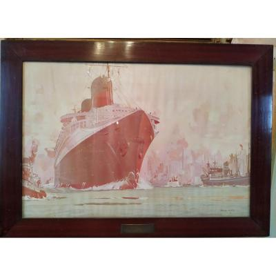 Supervision of the entry of the   liner Normandie into the port of New York. Hungarian edition after Marin Marie painter of the Navy in a flat varnished mahogany frame.