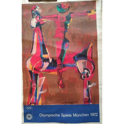 Marino Marini: Lithographie Couleurs Des Jeux De Munich 1972