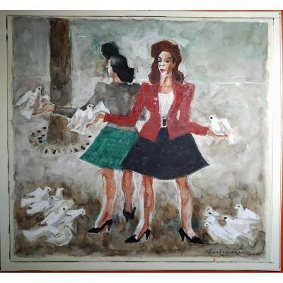 """"""" 2 femmes au colombes blanches """" gouache par Paul Charlemagne 1892-1972 - -"""