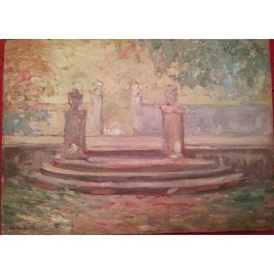 """""""jardin Du Luxembourg"""" Huile Sur Panneau Par Ulisse Caputo - -"""