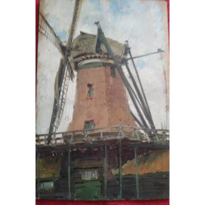 """""""Vieux Moulin à  Zandam"""" panneau peint  par Alexandre Bailly en 1897"""