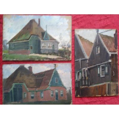 """Lot de 3 Panneaux """" maisons dans l'île de Marken"""" en 1897 par Alexandre Bailly"""