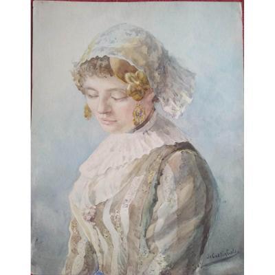 """Jeune fille en tenue traditionnelle"""" Aquarelle par De Castigliole -"""