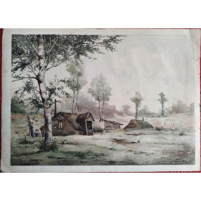 """Pierre Emmanuel Damoye """" la cabane dans la forêt"""" aquarelle datée  1890"""