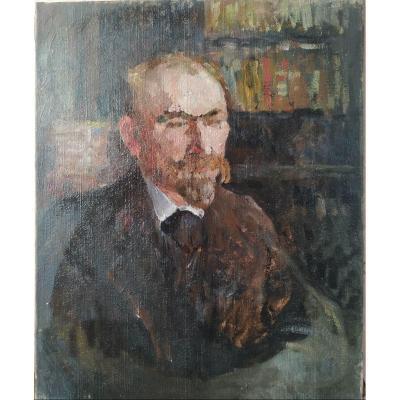""""""" portrait d'homme"""" huile sur toile par Jeanne-Marie Barbey 1876 à 1960"""