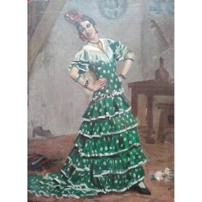 """""""Spanish dancer"""" by André Leroux son of Auguste Leroux. Oil on panel around 1940. pupil of his father and Paul Laurens, he exhibited in Parisian salons"""