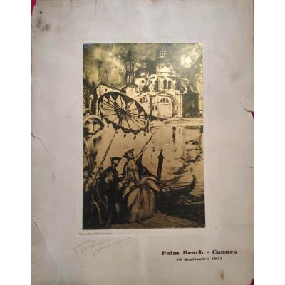 "Lithograph of the Robaudy house after Gabriel Domergue ""carnival in Venice"" For the Palm Beach in Cannes against hand signed by Jean-Gabriel Domergue"