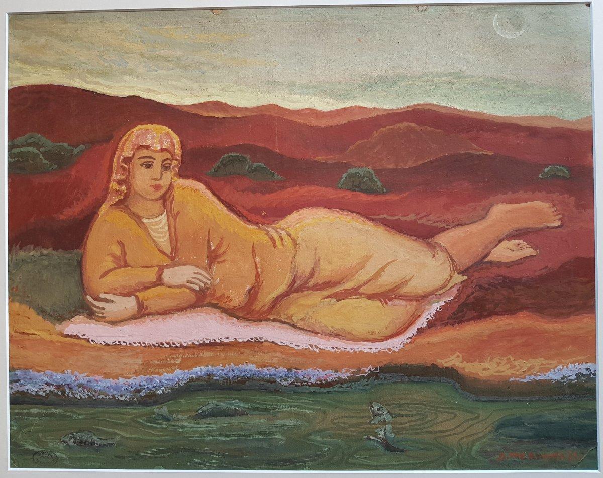 Dimitri Merinoff (1896-1971) Femme au bord de l'eau 1931