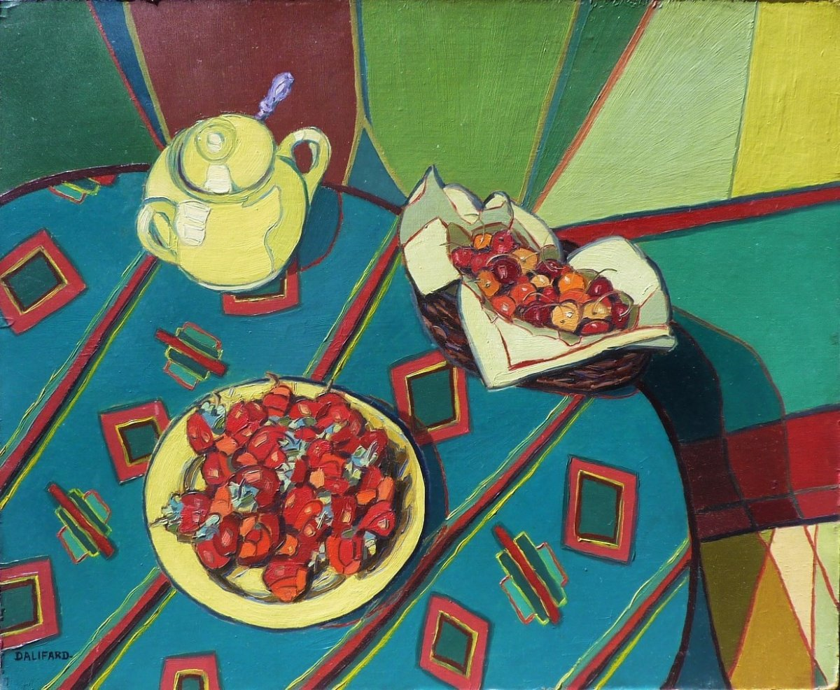 Raymond Dalifard (1901-1975) Strawberries And Cherries On A Table